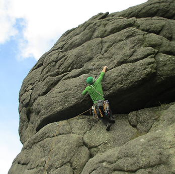 Rock climbing at Haytor, Dartmoor