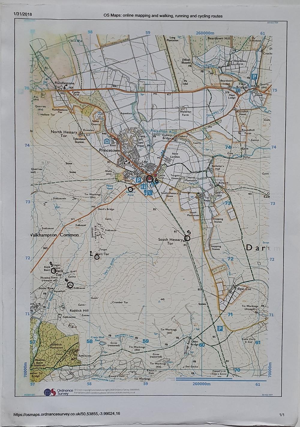 Printed OS map
