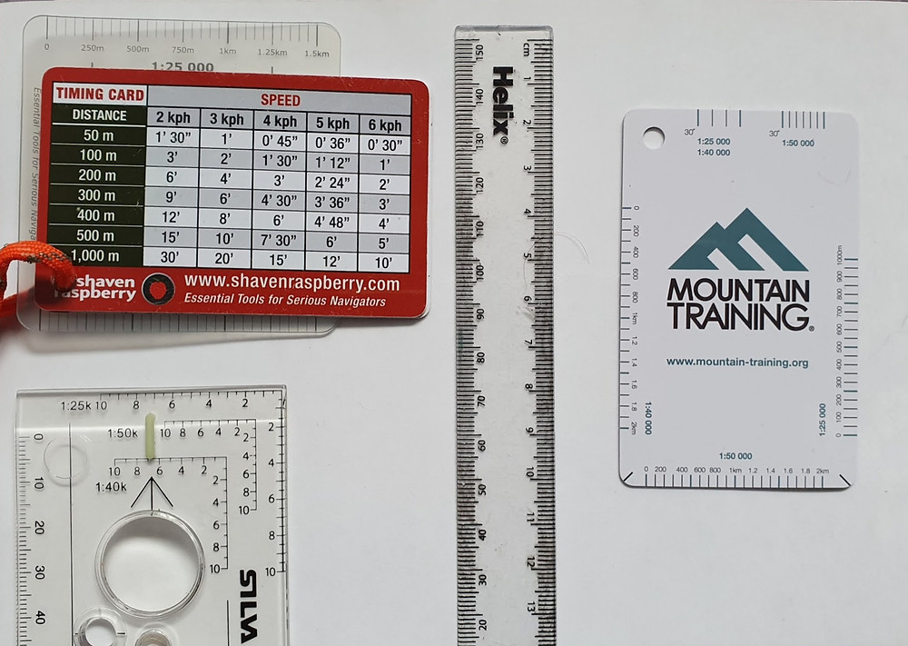 navigation measuring distances tools: a ruler, timing cards, romers, compass