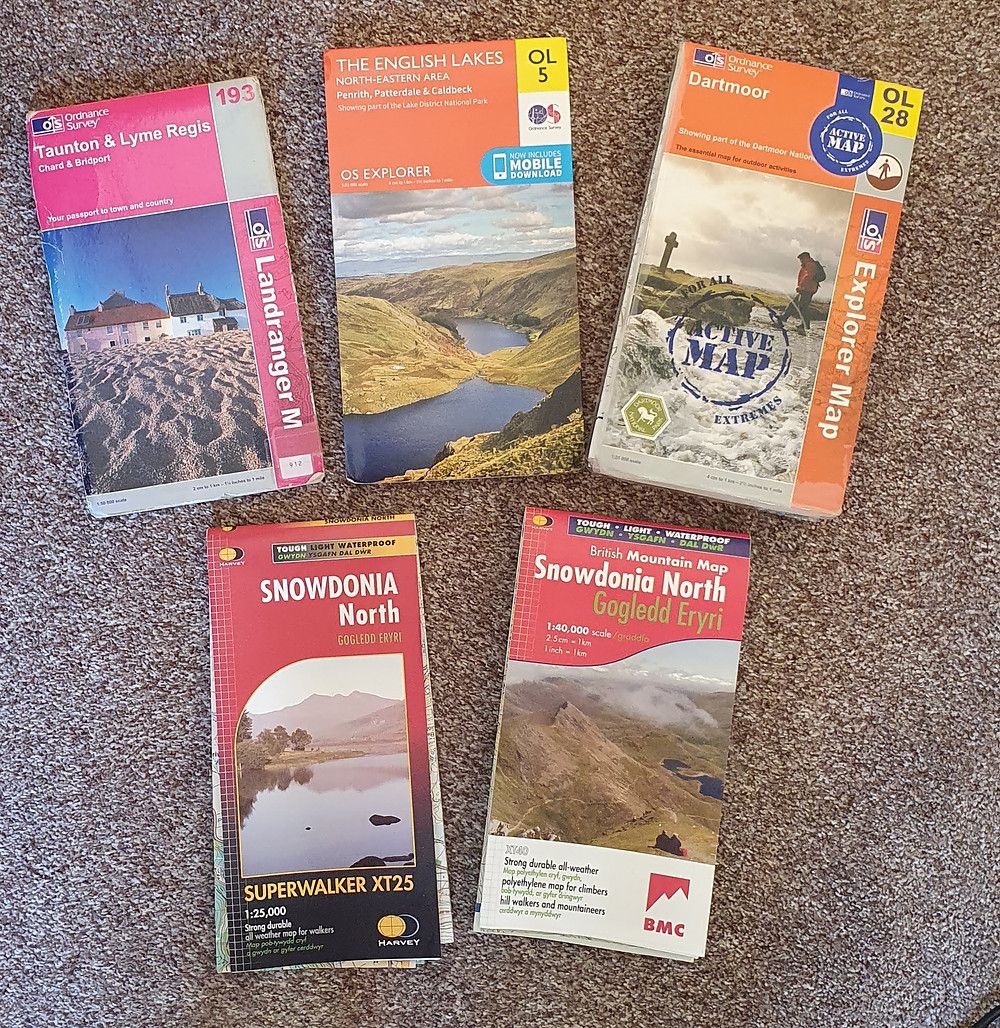 Selection of different types of UK maps, Ordnance Survey and Harvey Maps