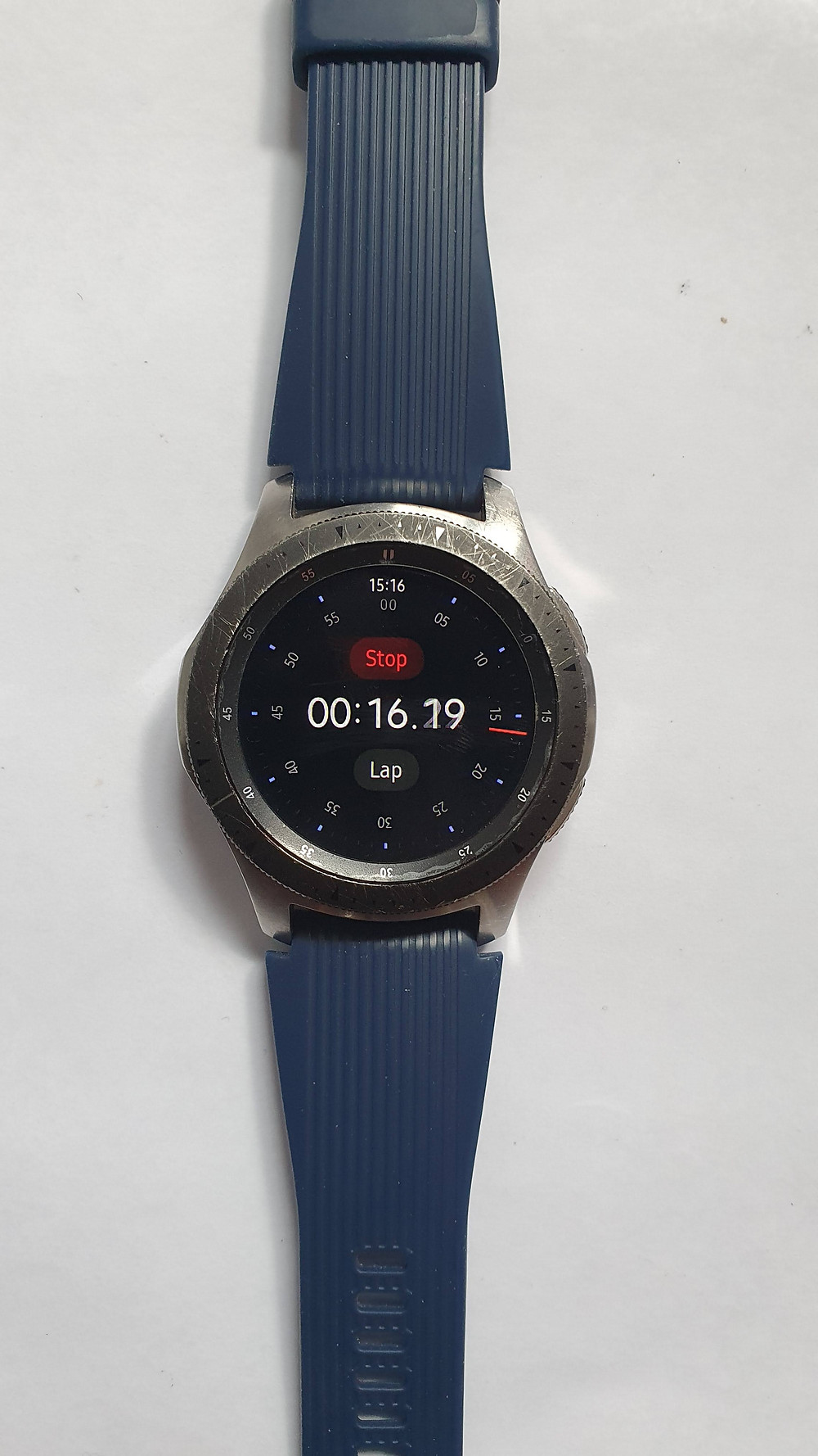 Samsung Galaxy Watch showing stopwatch function