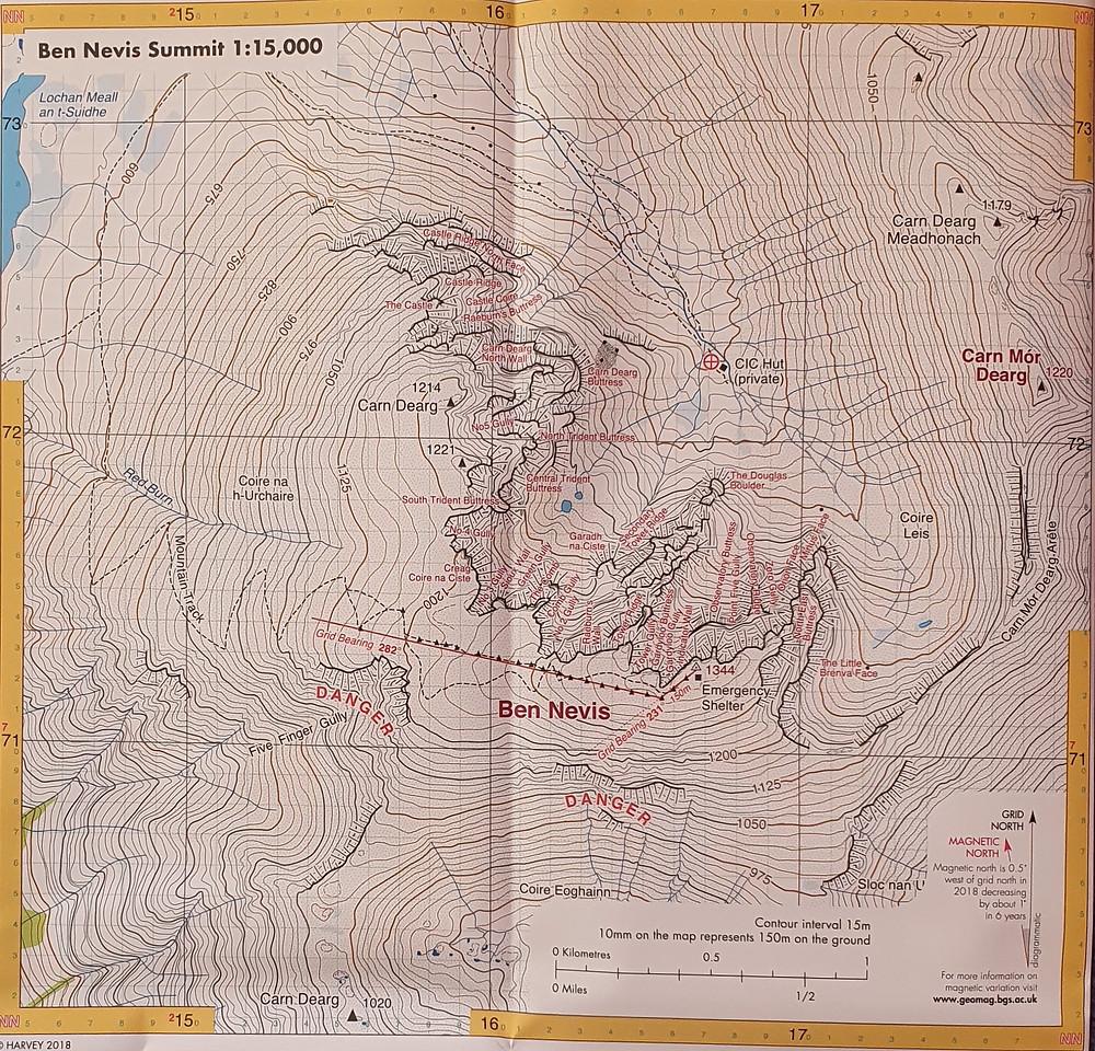 Ben Nevis Summit Map, Harvey Maps