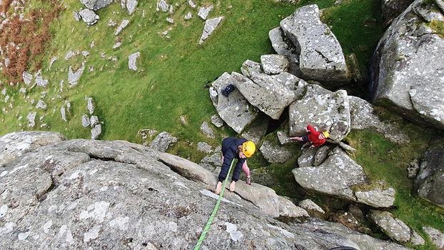 Rock Climbing on Dartmoor, Hound Tor, Suspension Flake