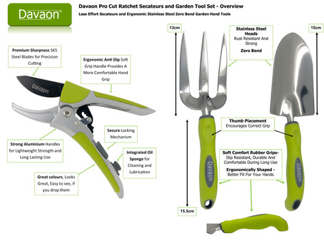 New Davaon Pro Ratchet Secateurs & Garden Hand Tools Set Launched