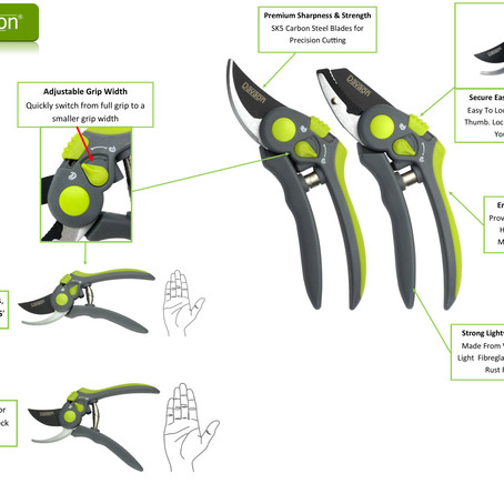 New Davaon Pro Adjustable Secateurs Set