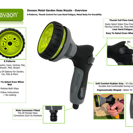 New Davaon Garden Hose Sprayer - Metal 8 Pattern Less Hand Fatigue