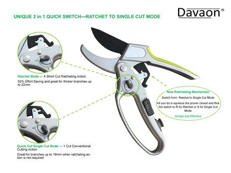 NEW Davaon Pro Switch 2 in 1 Ratchet Pruner with Quick Switch to Single Cut Mode - Best of Both Prun