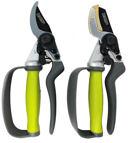 Pro Bypass & Anvil Secateurs Set - Reduced Effort Strain Rotating Handles