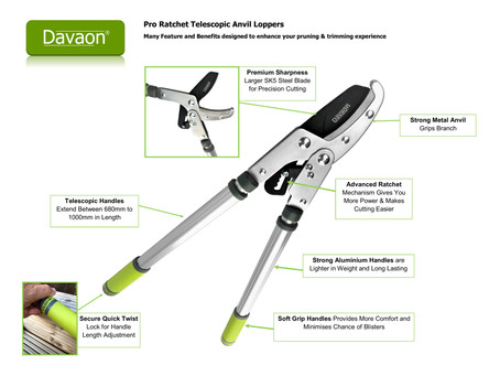 New Less Effort Davaon Ratchet Telescopic Loppers Now Available