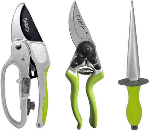 Pro Ratchet & Bypass Secateurs Set With Multi Tool Sharpener
