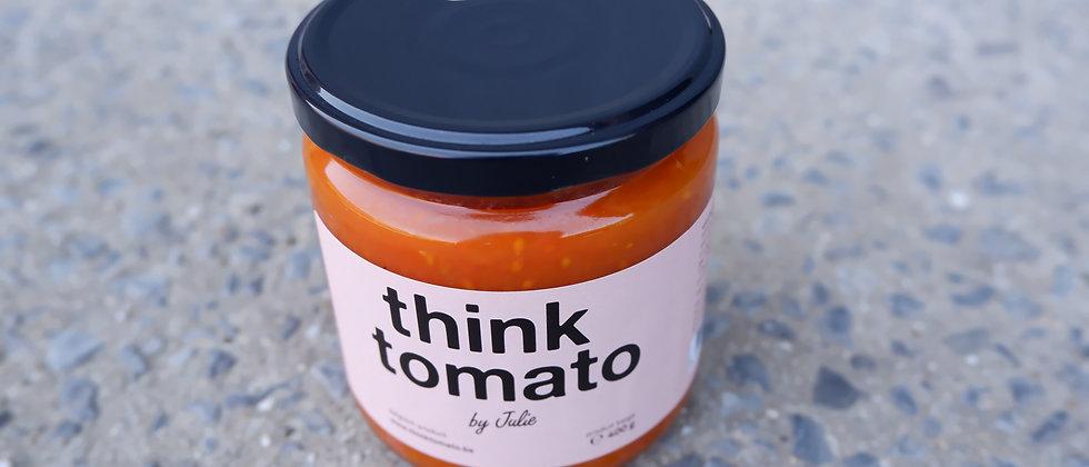 "Ambachtelijke (kers)tomatensaus Think Tomato ""by Julie"" - 400 gram"