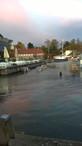 Efterårs storm og broen under vand