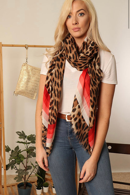 Scarf - Red Animal Print