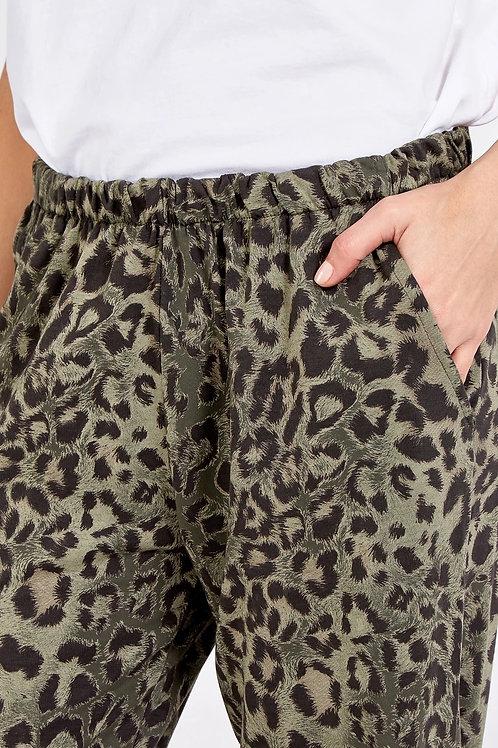 Leah Khaki Animal Print Sweatpants
