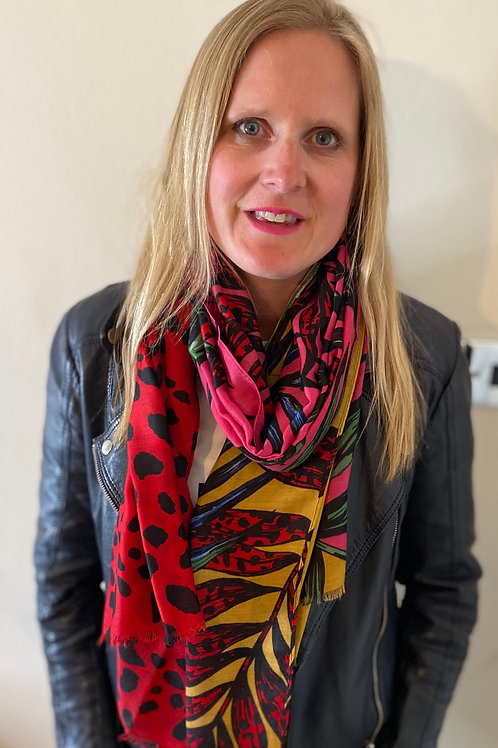 Scarf - Red and Pink Jungle Print