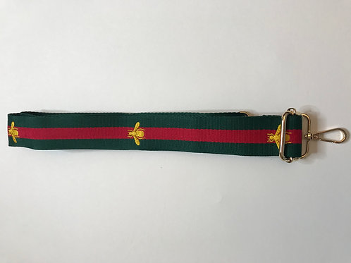 Bag Strap - Red and Green Bee