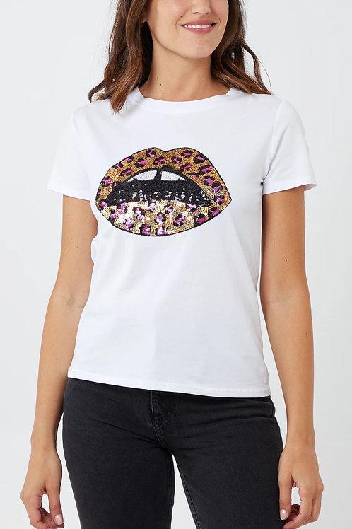 Cheryl Sequin Leopard Lip T Shirt