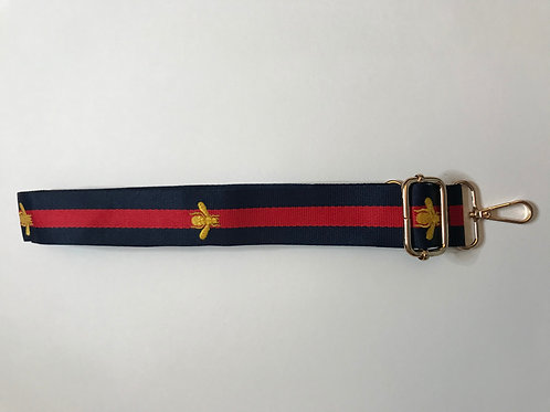 Bag Strap - Red and Navy Bee.