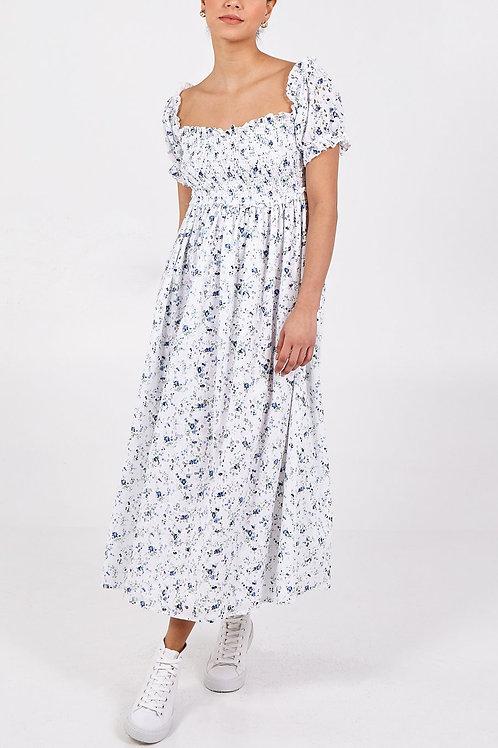 Fleur Shirred Floral Midi Dress