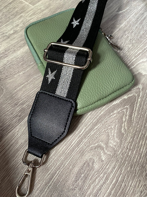 Bag Strap - Black Star - silver hardware
