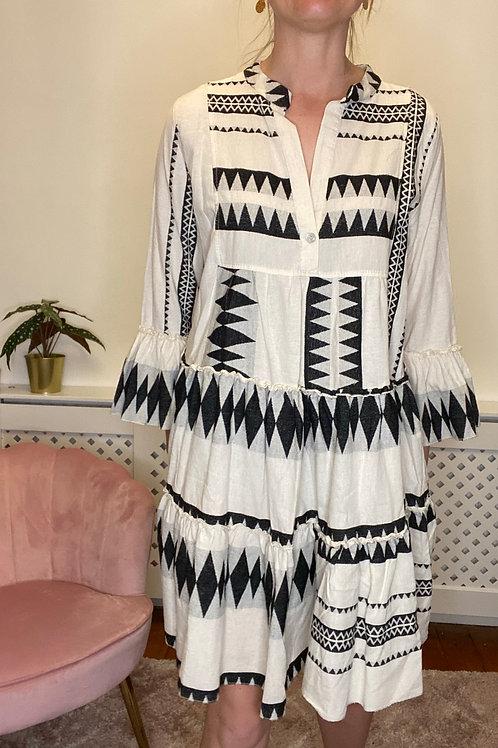 Saffron Black Midi Dress