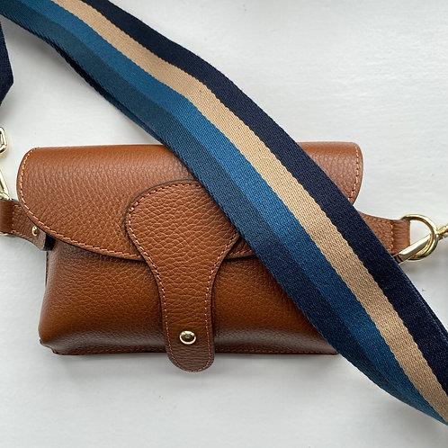 Bag Strap - Navy, Teal + Beige