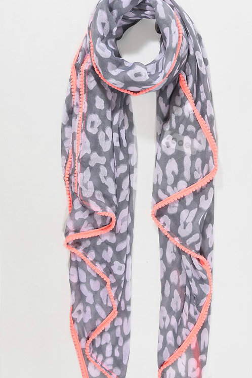 Scarf - Grey Neon Pink