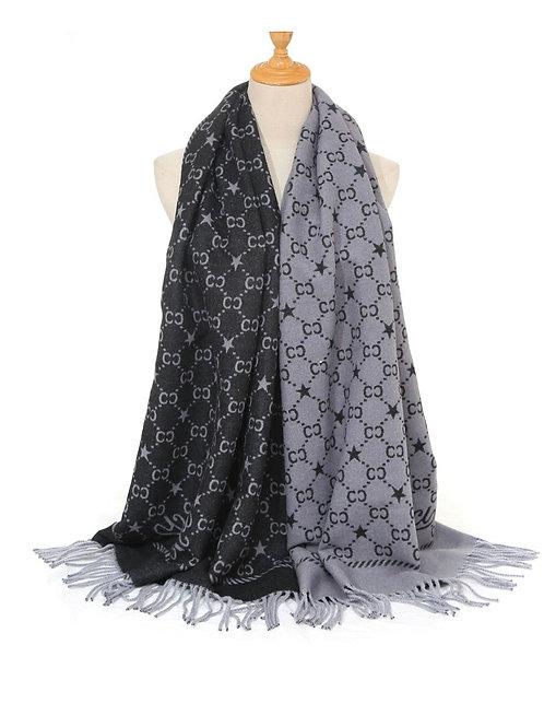Gucci Inspired Scarf black / grey