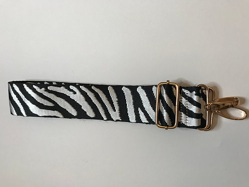 Bag Strap - Black and Silver Zebra.