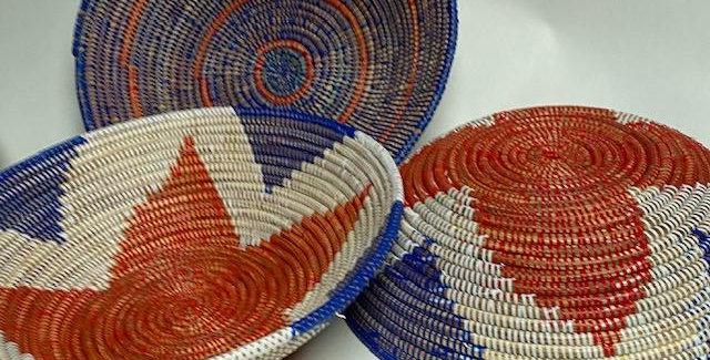 Sweet Grass Basket- Patriotic Colors- 1 each