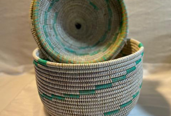 Turquoise Lidded Basket- sold individually