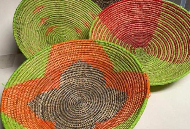Sweet Grass Basket- Orange-Lime round bowls- Sold Individualy