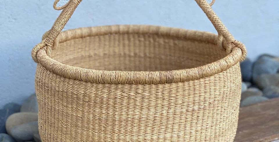NATURAL-Dye Free African Basket-Lge