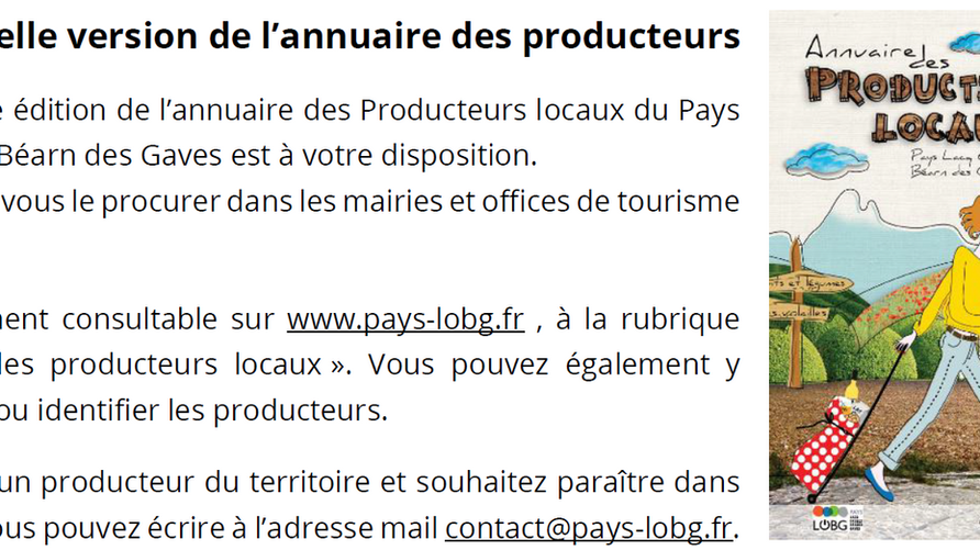 ANNUAIRE DES PRODUCTEURS LOCAUX