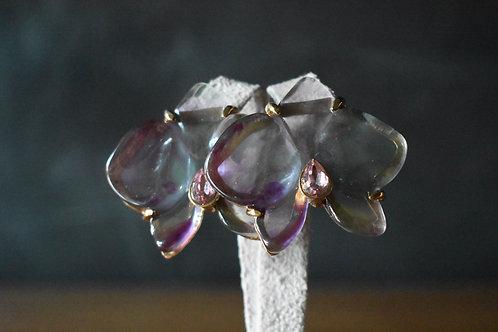 Brinco orquídea resina lilás