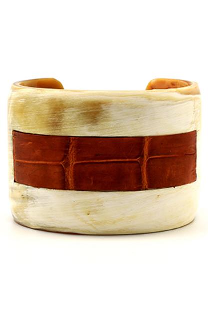 Bracelete Marfim couro