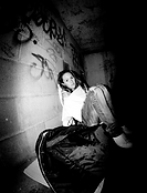 Homeless woman sleeping rough black and white