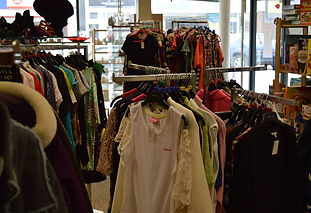 Clothes at HARP charity shop for homeless people