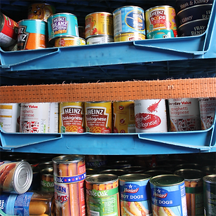 Tinned food donations for homeless people in Southend