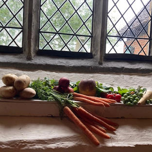 A Harvest display at St Peter & St Paul Hockley