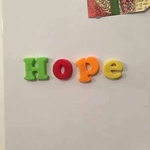 HOPE magnets on fridge