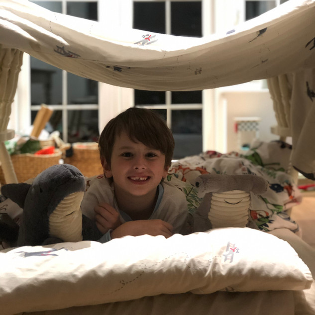Oliver, age 8, built a den in his lounge and raised £55