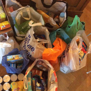 Jan's fantastic Harvest at Home Collection, donated by her neighbours