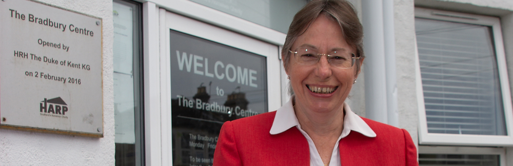 Jackie Bliss, HARP's Chief Executive, outside the Bradbury Day Centre