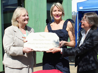 Heather Mills officially opens our new women's hostel - White Heather House