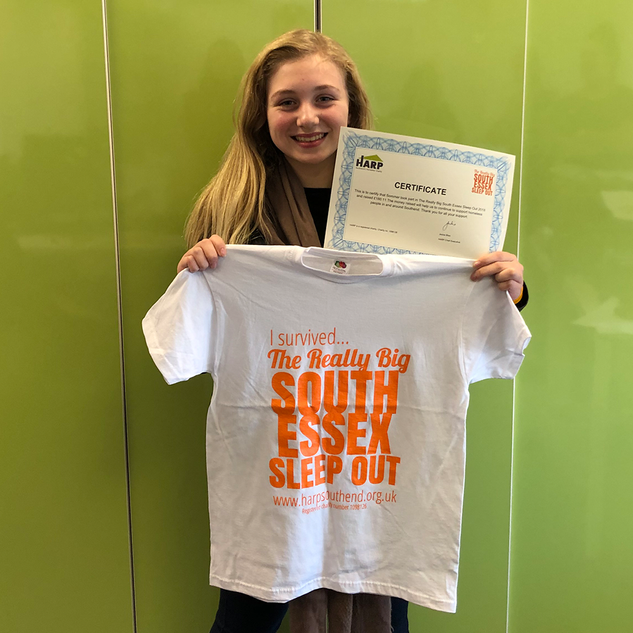 Sommer sports her T-shirt and certificate after last year's Sleep Out