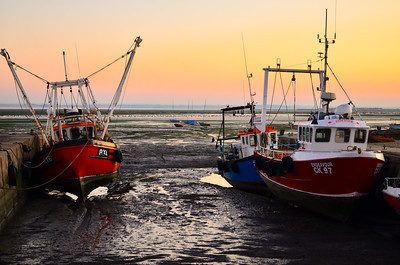 Fishing boats during low tide at Leigh-on-Sea