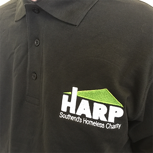HARP Southend's Homeless Charity logo on black staff polo shirt