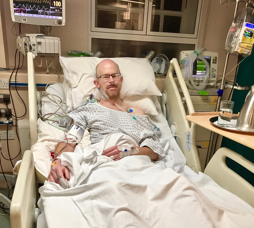Fully wired-up in Intensive Care, a few hours after surgery