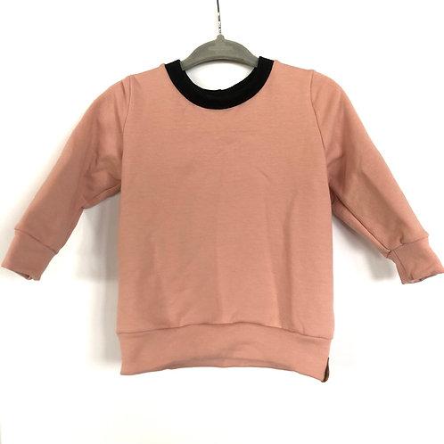 Fall crewneck sweater 'Unisex pink with black collar'